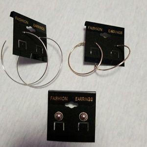 Jewelry - Trio of silvertone earrings
